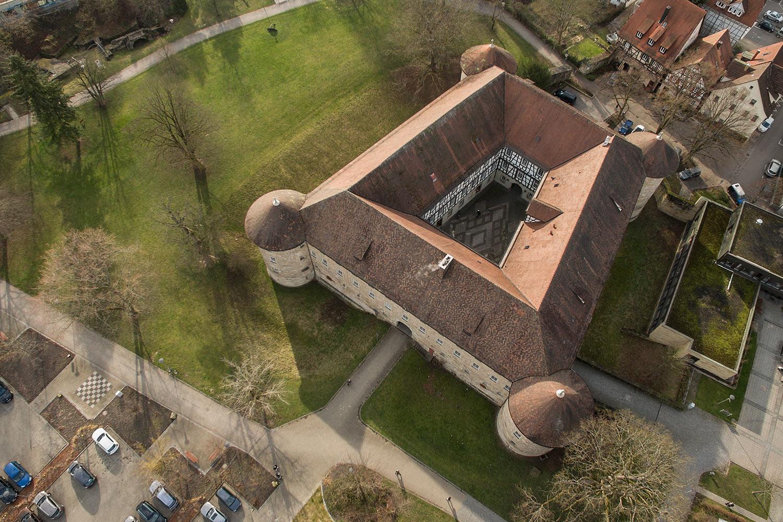 Das Schorndorfer Burgschloss von oben.